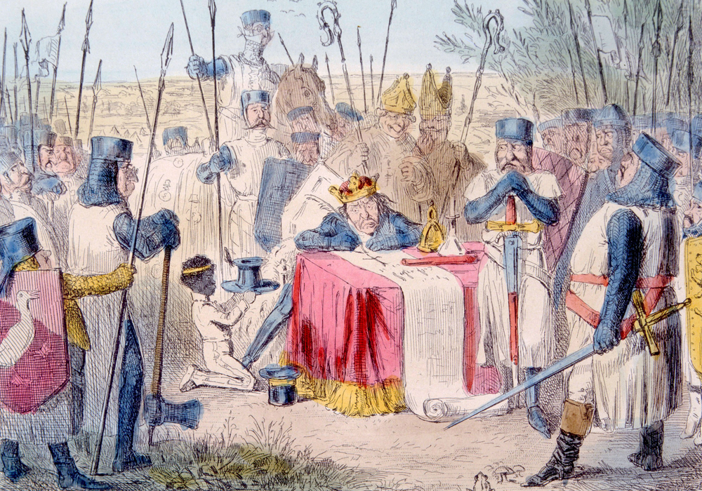 The Magna Carta is considered to be the blueprint for constitutional democracy but was never signed by King John.